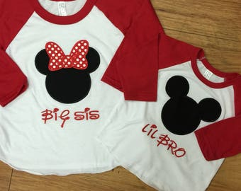 Big Sis, Lil Bro, Minnie Mouse, Mickey Mouse Raglans. SET OF 2.