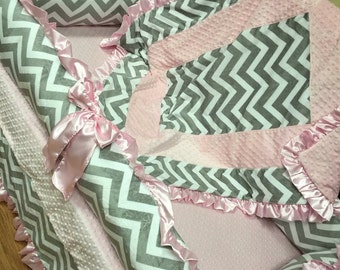 Grey Chevron, Baby Pink, Crib Set. You design. Several Colors Available.