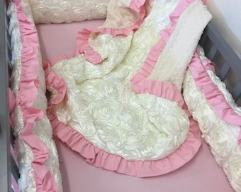 Ivory, Pink, Satin, Rosette, Crib Set.