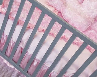 Baby Pink Baby Bedding. Pink Rosette Baby bedding.