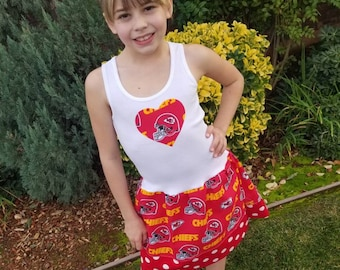 Girls dress. Made with Kansas City Chiefs fabrics