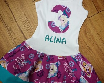 Personalized, Frozen Dress, Anna Dress, Elsa Dress.