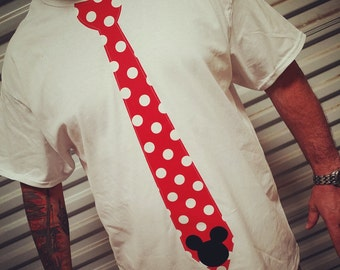 MENS, Mickey Mouse, Red Polka Dot, Tie Shirt