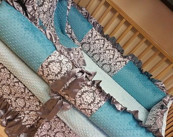 Damask, Crib Set. Several Colors Available.
