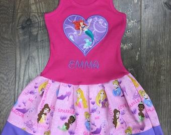 Girls dress. Made with Disney Princess fabric