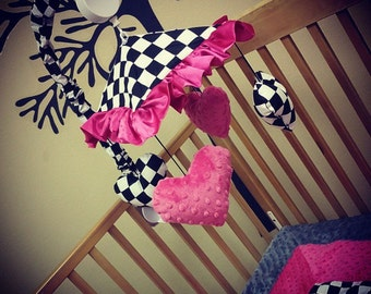 Checkered Flag, Crib Mobile. Custom your own. You choose fabric.