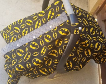 Car seat cover. Car seat canopy. Canopy tent. Batman car seat cover. Baby shower gift