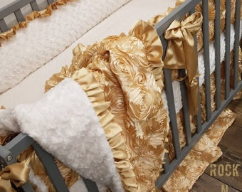 Gold baby bedding. Baby girl crib bedding. Gold nursery. Gold crib set.