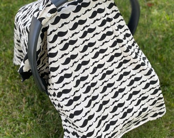 Mustache car seat canopy tent. Baby boy car seat cover. Baby boy canopy tent. Car seat canopy tent. Baby shower gift.