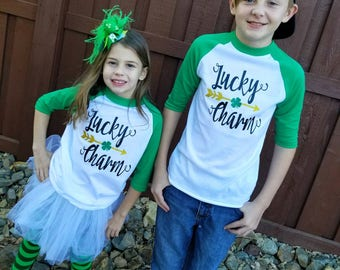 Lucky Charm, St. Patrick's Day, Irish, raglan.