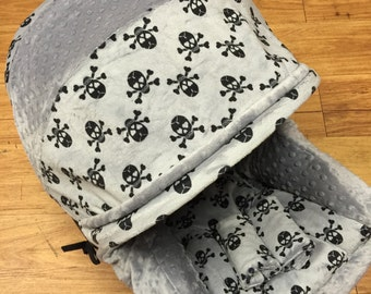 Grey Skull, Infant Car Seat Replacement Cover. You choose colors.