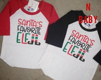 Santas Favorite Elf, Christmas Raglan, Christmas Shirt, Funny Christmas Shirt