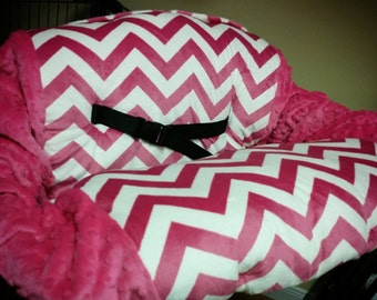 Fuchsia Chevron, Minky, Shopping Cart Cover. Several other colors available to choose from.