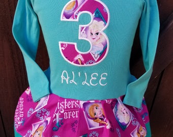Frozen Dress, Anna Dress, Elsa Dress. Long Sleeve