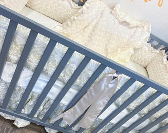 Ivory baby bedding. Baby girl crib bedding. Shabby chic baby bedding. Vintage baby bedding. Rosette baby bedding. Baby girl.