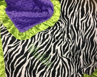 Zebra blanket. Minky.