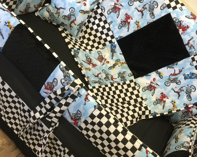Featured listing image: Baby Boy Baby Bedding. Dirt Bike Baby Bedding. Motocross Baby Bedding. Off Road Baby Bedding. Crib Bedding