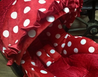 Red Polka Dot, Infant Car Seat Replacement Cover. You choose colors.