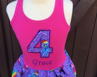 Girls Custom Dress. Created with My Little Pony Fabric.