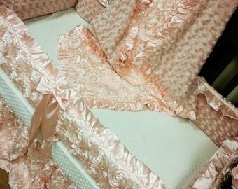 Blush, Satin, Rosette Crib Set.
