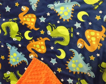 Dinosaur, Minky, Baby, Blanket. You choose color backing.