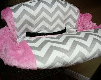 Grey Chevron, Pink, Minky, Shopping Cart Cover. Several other colors available to choose from.