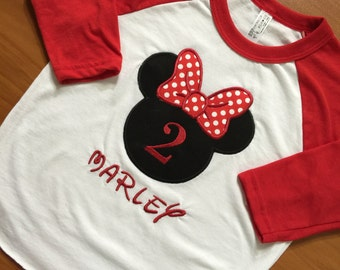 Minnie Mouse Raglans. Any color available. Personalized