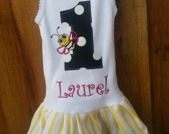 Bumble Bee Dress. Bee Dress. Bee Birthday Party. Bee Birthday dress. Custom kids clothing