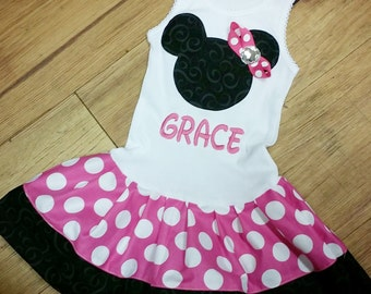 Hot Pink, Minnie Mouse Dress. Personalization available.