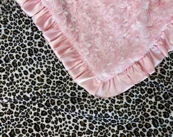 Baby Pink, Cheetah, Leopard, baby blanket.