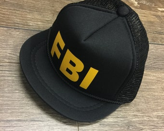 Infant trucker hat. Toddler trucker hat. FBI