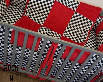 Checkered Flag Crib Set. You design. Several Colors Available.