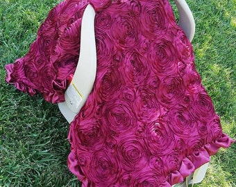 Burgundy canopy tent. Rosette canopy tent. Rosette car seat canopy.  Satin rosette canopy tent.