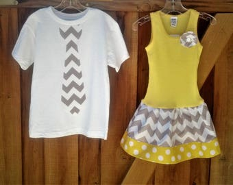 Chevron, shirt and dress set. Sibling Set.
