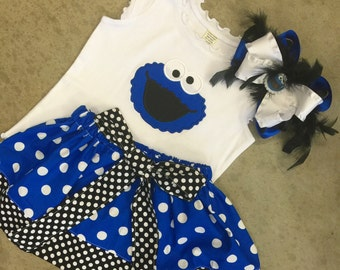 Custom Girls Skirt Shirt Set. Cookie Monster