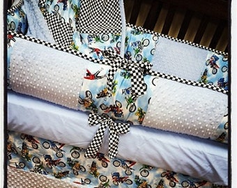 Motocross, Dirt Bike, Crib Set. Baby Blue. Checkers. Several Colors Available.