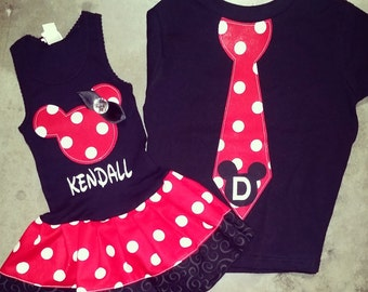 Minnie Mouse Dress, Mickey Mouse Tie Shirt, Sibling Set. Black.