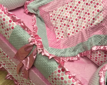 Pink Polka Dot, Crib Set. Baby Bedding.