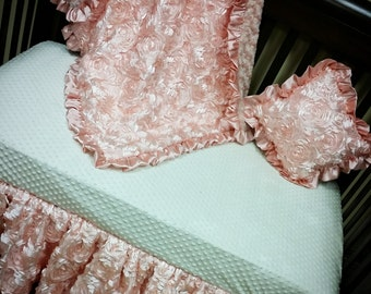 Blush, Rose, Satin, Rosette Crib Set. BUMPERLESS