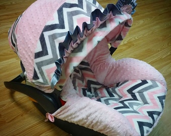 Pink, Grey, Chevron, Minky, Infant Car Seat Replacement Cover. You choose colors.