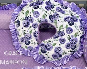 Nursing Pillow Cover. Fits Boppy Pillow. Purple floral