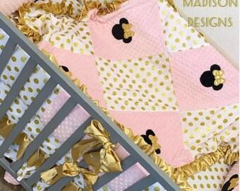 Minnie Mouse Crib Set, baby girl, Nursery Decor, Pink Gold