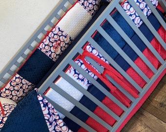 Baseball Crib Set. Baby bedding. Baby boy nursery.