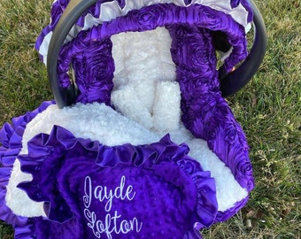 Infant car seat replacement cover. Purple car seat cover. Baby girl Rosette Car Seat Cover