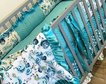 Teal floral baby bedding. Baby girl crib bedding. Floral crib bedding. Teal floral crib set. Floral baby bedding
