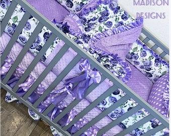 Purple floral baby bedding. Baby girl crib bedding. Floral crib bedding. Purple floral crib set. Floral baby bedding. Purple nursery decor