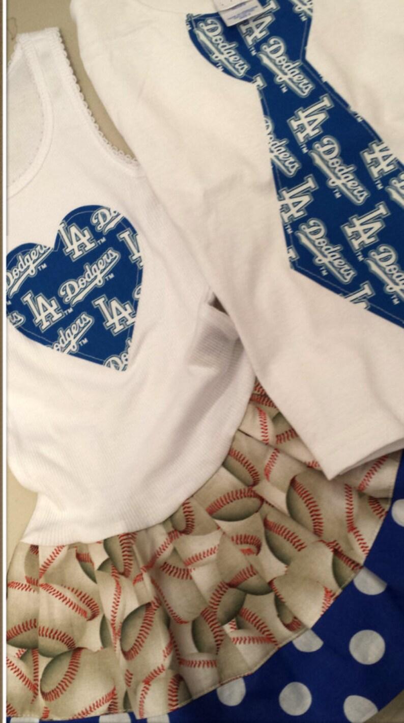 Dodgers Tie Shirt Dodgers Dress Sibling Set.