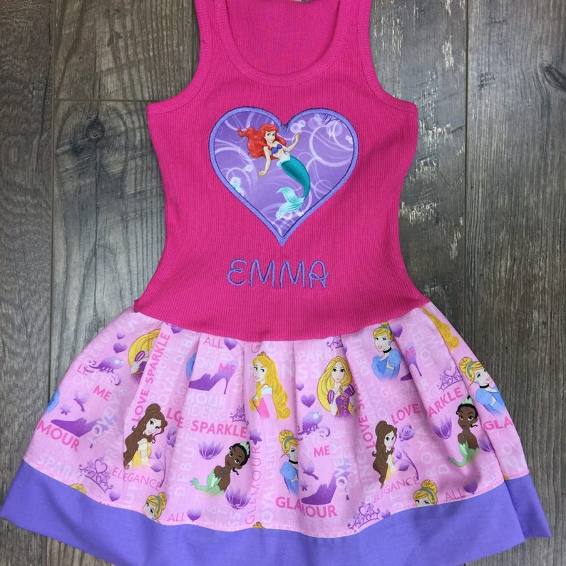 Girls dress Made with Disney Princess fabric