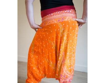 Orange Red Thai Harem Yoga Pants   Tribal Fusion Haram   Gypsy Hippie   Belly Dance   Pyjamas   Burning Man Festival Rave Clothing  