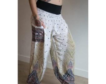 White Aladin Thai Harem Haram Yoga Pants   Tribal Fusion   Gypsy Hippie   Belly Dance   Pyjamas   Burning Man Festival Rave Clothing  